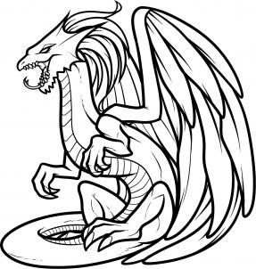 287x302 Dragon Black And White Drawing Clipart