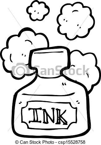 327x470 Cartoon Ink Pot Clipart Vector