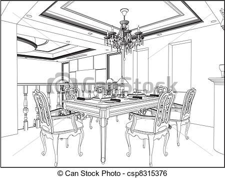 450x355 Dining Room Vector Clip Art Vector