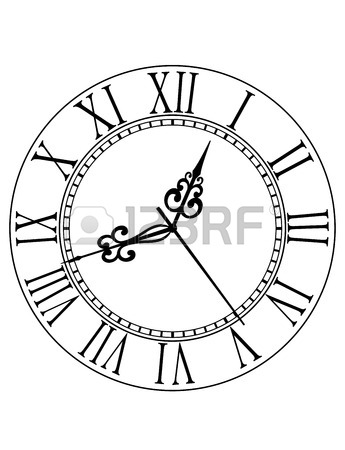 345x450 Dainty Line Drawing Of A Round Dial Clock Face With Arabic