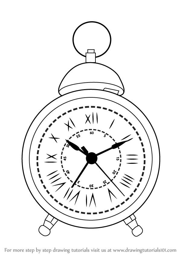 596x844 Learn How To Draw A Vintage Clock (Vintage Items) Step By Step