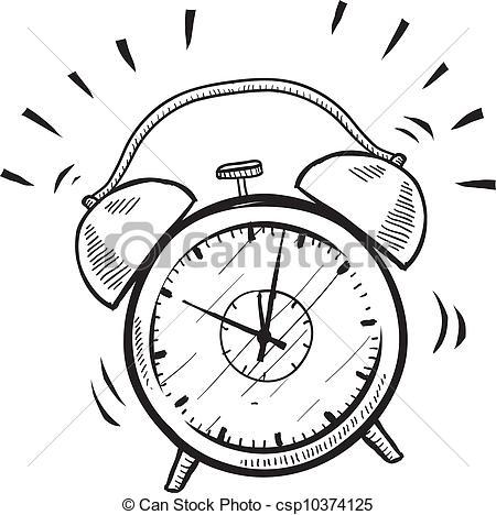 450x468 Retro Alarm Clock Sketch. Doodle Style Retro Alarm Clock Vector