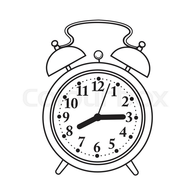 800x800 Retro Style Analog Alarm Clock, Black And White Sketch Style