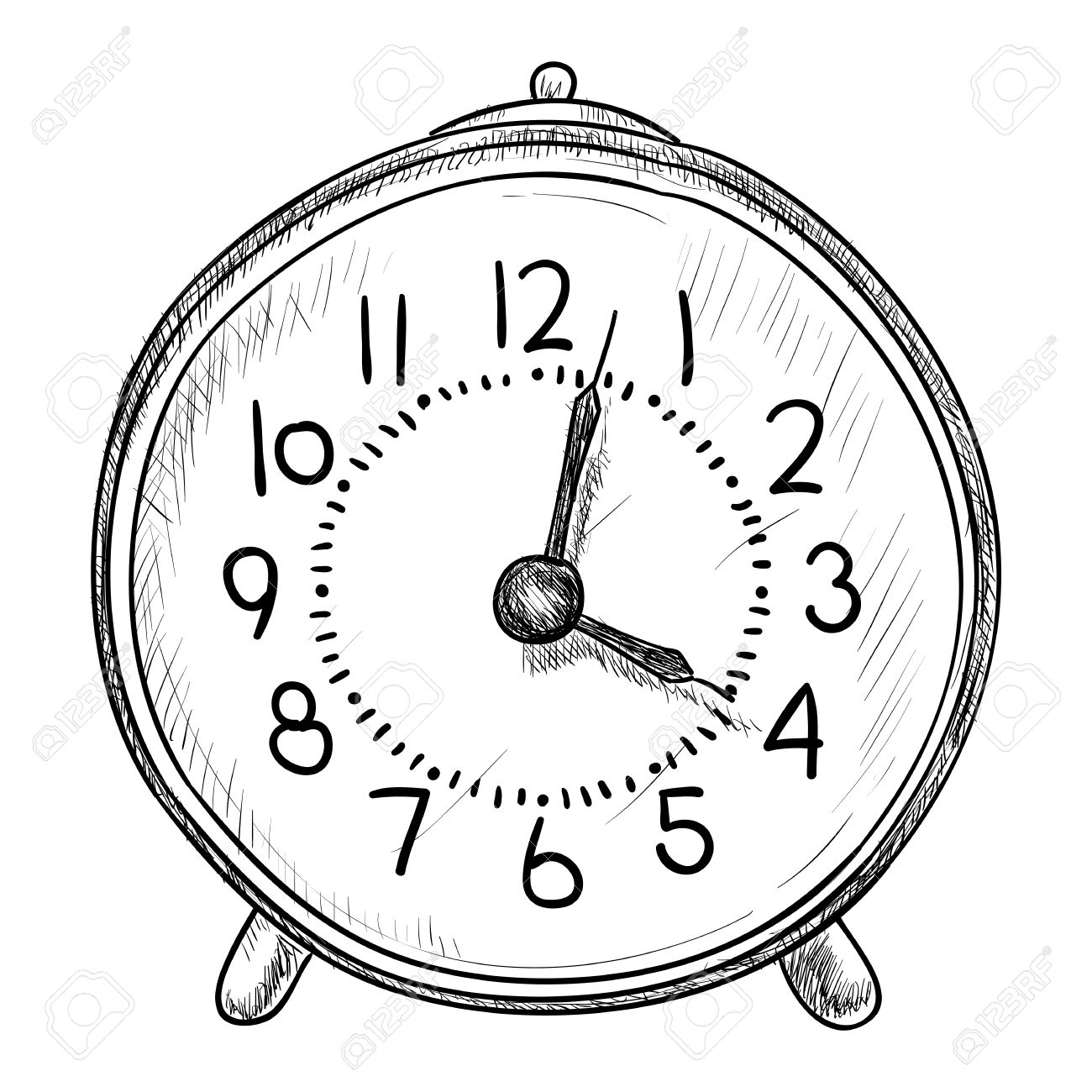 1300x1300 Vector Sketch Of Clock. Hand Draw Illustration. Royalty Free