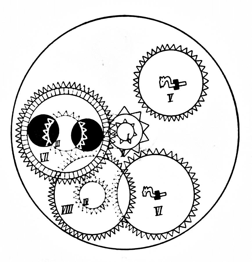 868x900 Clock Gears Drawing By