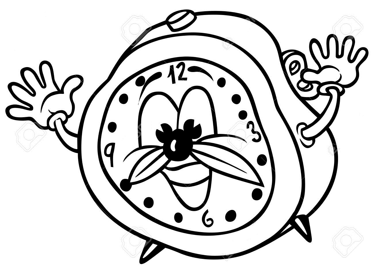 1300x941 Clock Coloring Pages