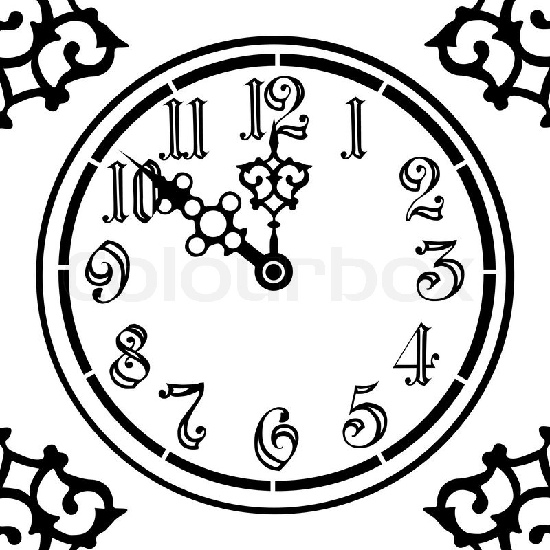 800x800 Old Style Vintage Clock In Black And White Stock Vector Colourbox