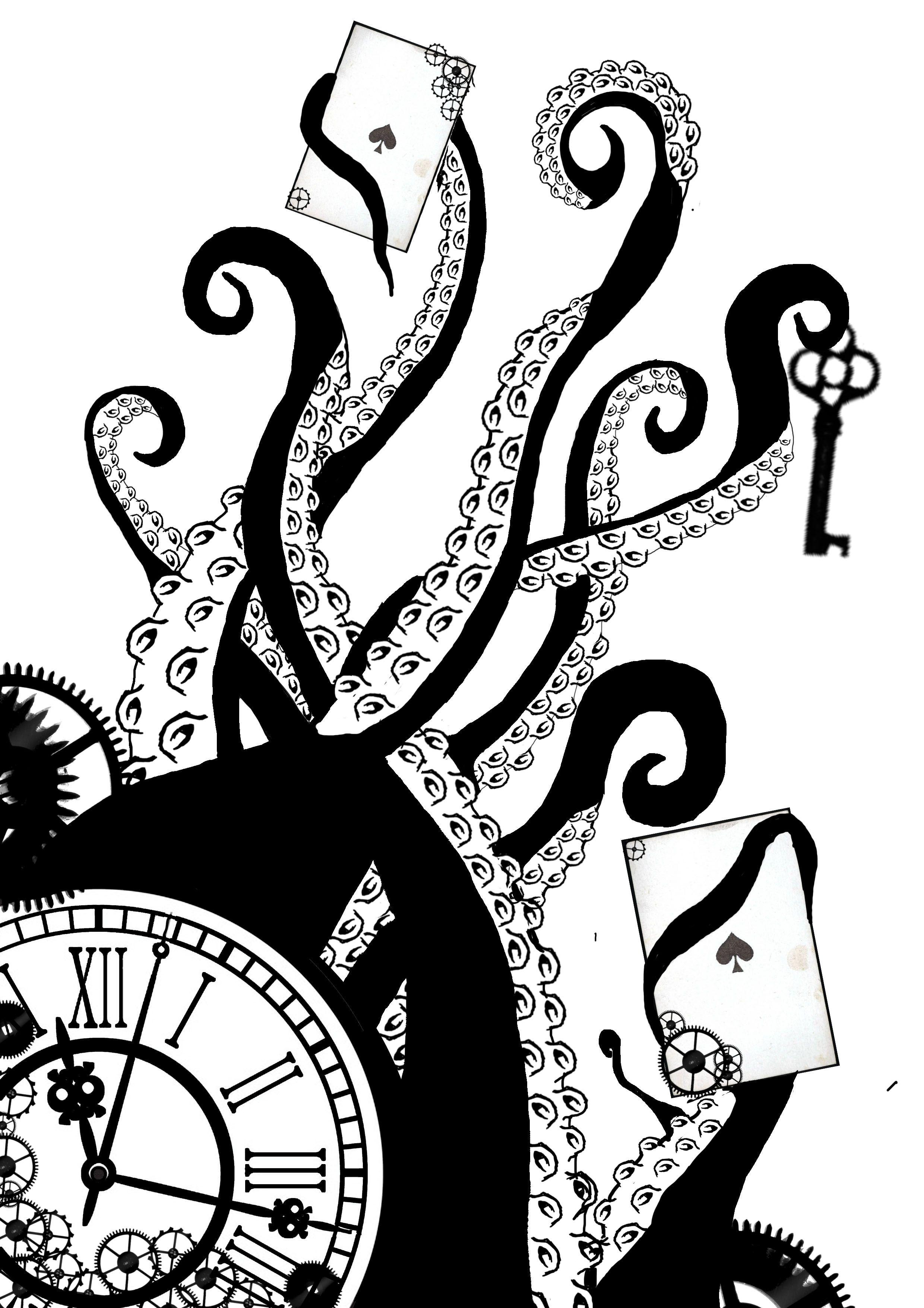 2480x3508 Steampunk Clock Drawing