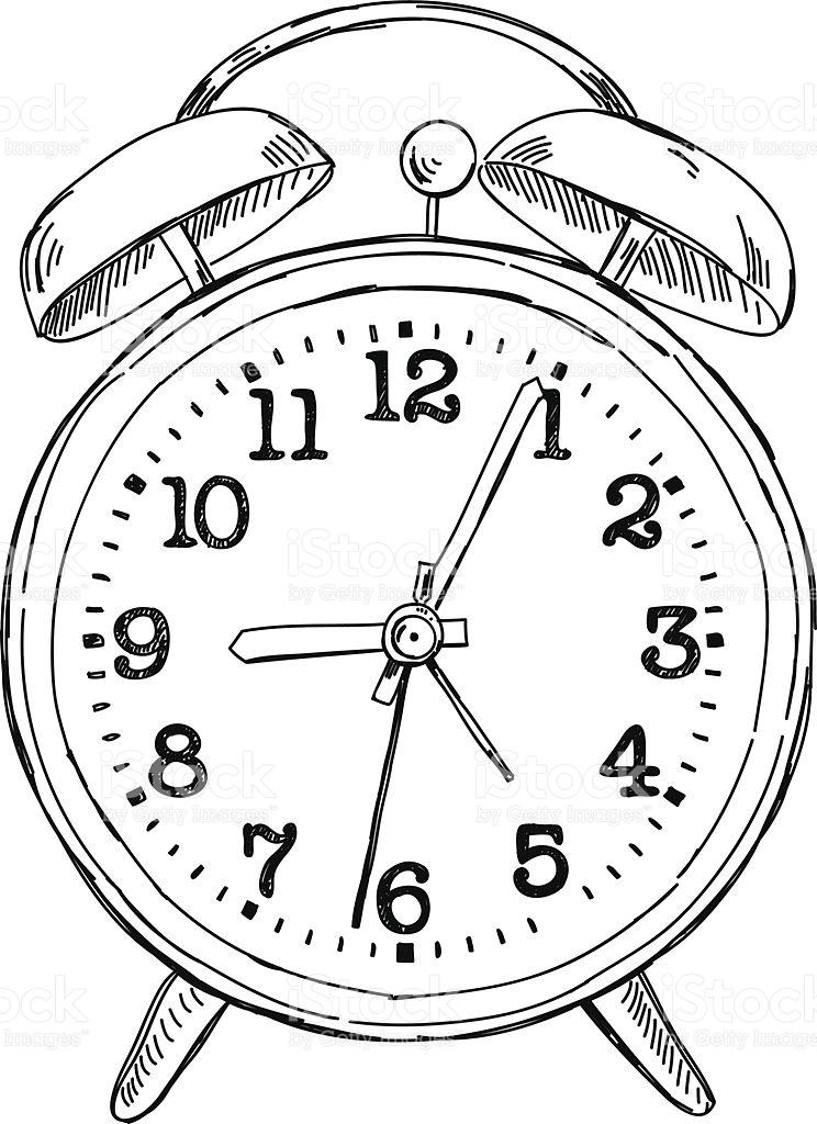 744x1024 Stock Illustration 42636478 Vector Hand Drawn Sketch Alarm Clock