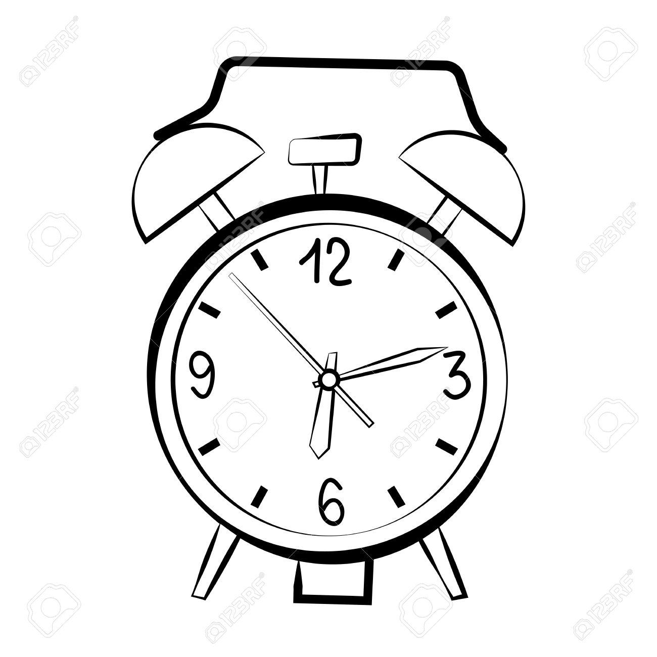 1300x1300 Alarm Clock Sketch Royalty Free Cliparts, Vectors, And Stock