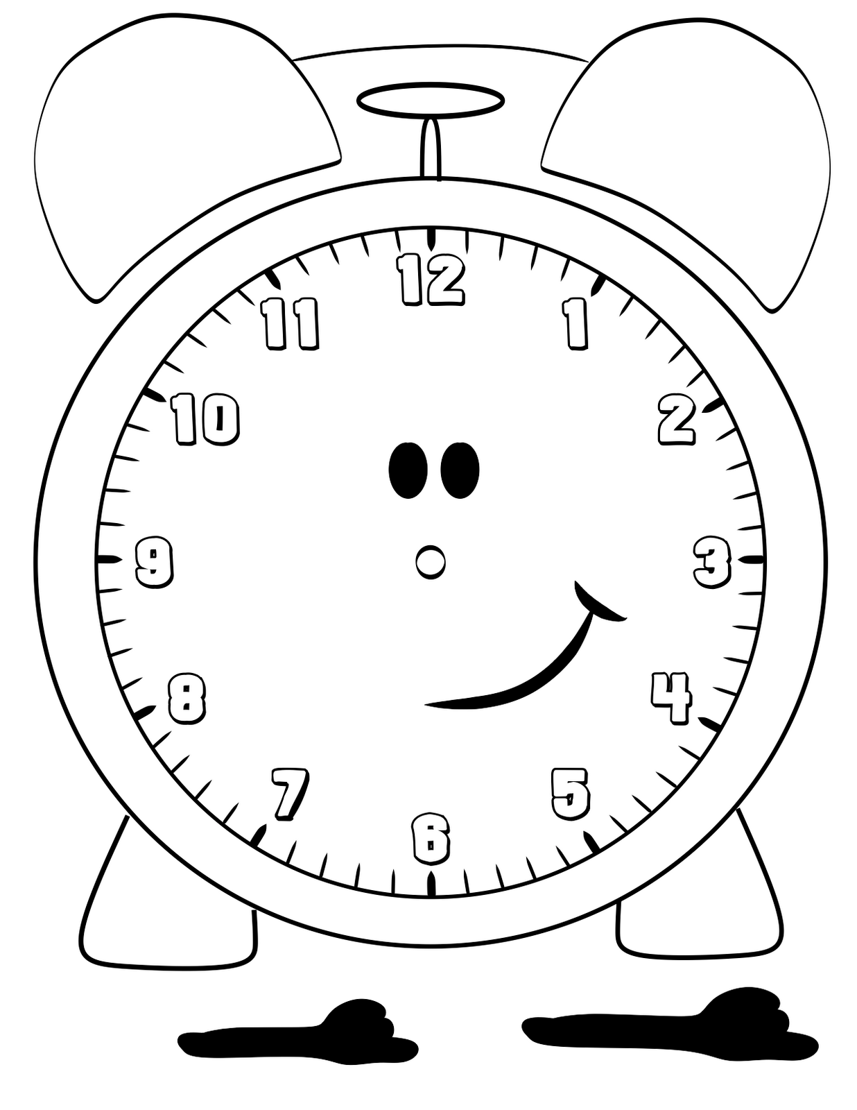 1236x1600 Clock Face Coloring Page