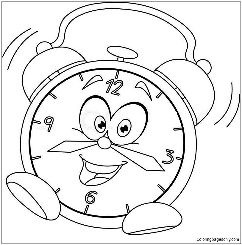 813x820 Alarm Clock Cartoon Coloring Page