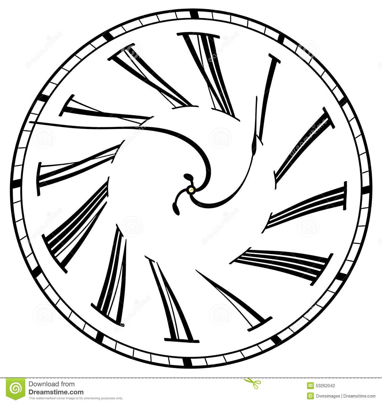 1300x1375 Surreal Clock Face Stock Illustration