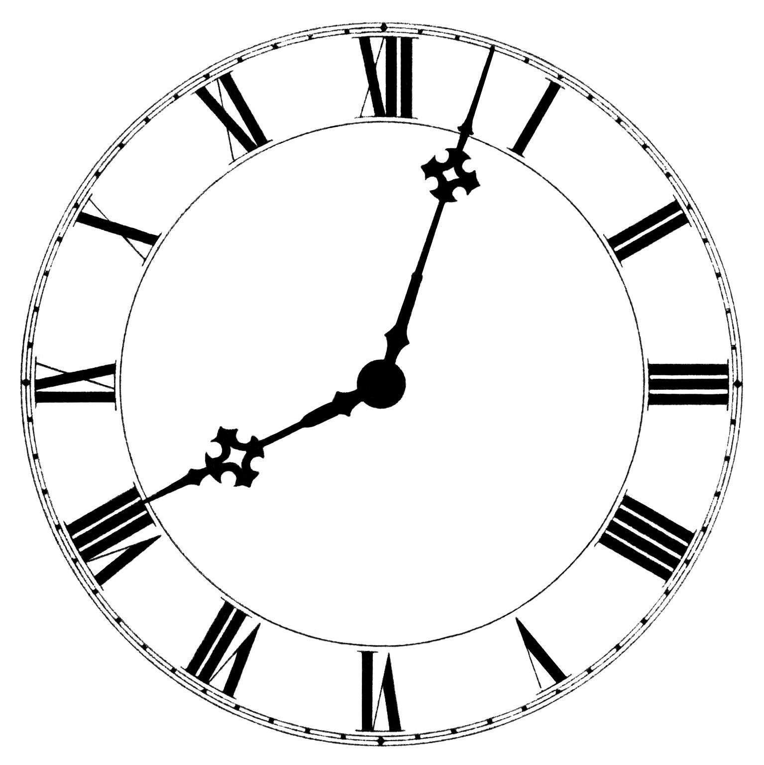 1535x1537 Vintage Clock Face Clipart