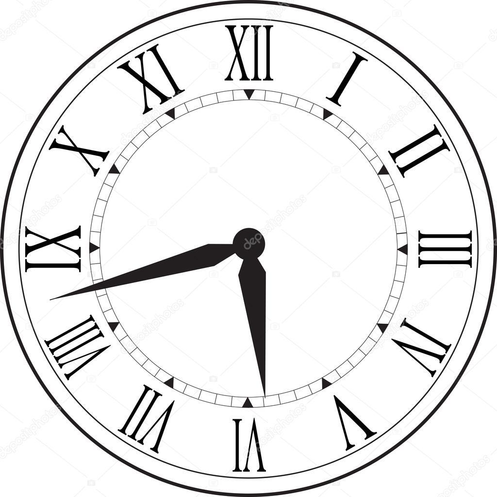 1024x1024 Retro Clock With Roman Dial Stock Vector Ovi801