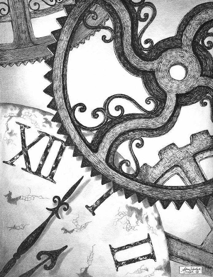 695x900 Grandfather Clock Gears Drawing