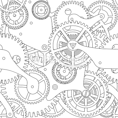 414x414 Steampunk Gears And Cogs Drawing