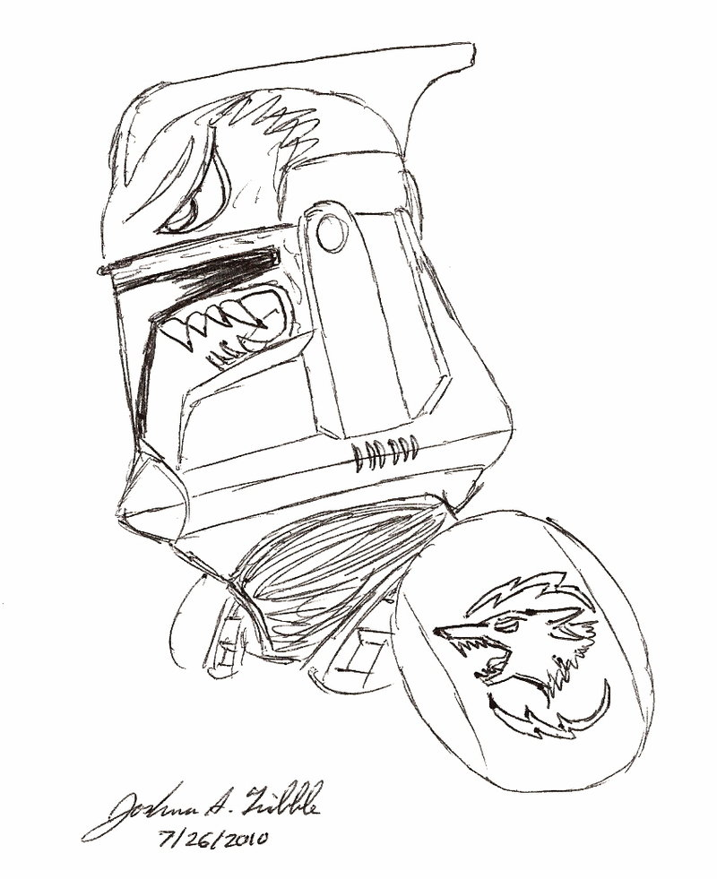 800x981 Clone Trooper Helmet Sketch 1 By Tribble Industries