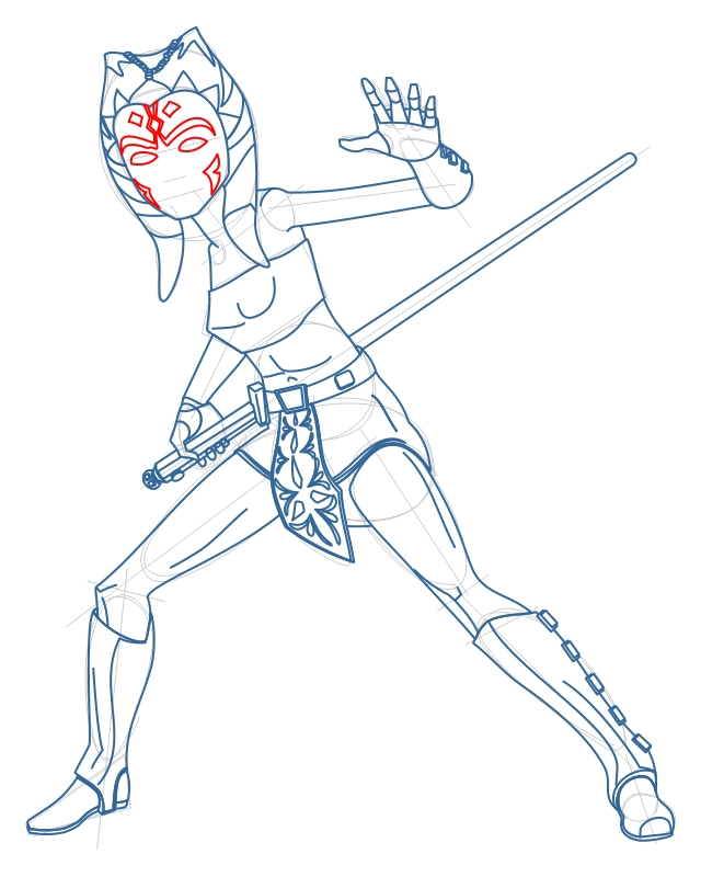 640x800 How To Draw Ahsoka Tano From Star Wars The Clone Wars Step By Step