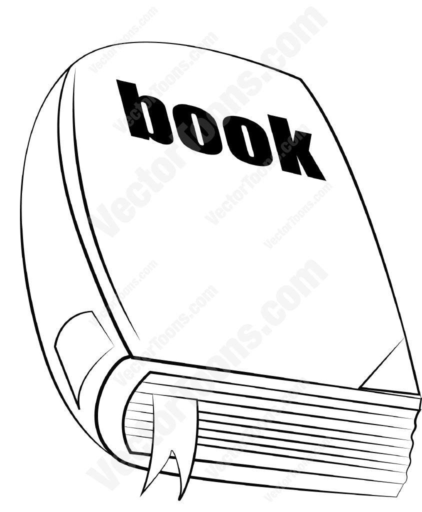 844x1024 Closed Book With Bookmark Sticking Out Cartoon Clipart