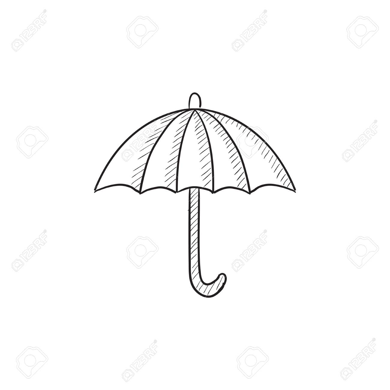 1300x1300 Umbrella Sketch Icon For Web, Mobile And Infographics. Hand Drawn