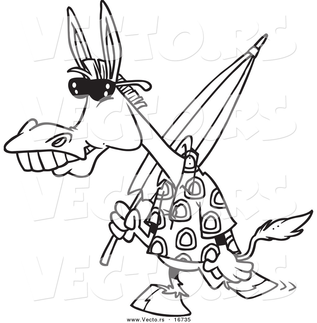1024x1044 Vector Of A Cartoon Summer Donkey Carrying A Beach Umbrella