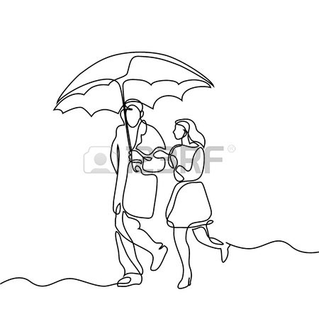 450x450 Couple Walking Under Umbrella. Continuous Line Drawing. Vector