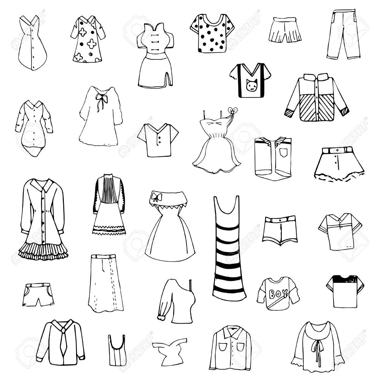 1300x1300 Clothes Sketch Vector Set Of Free Hand Drawing Royalty Free