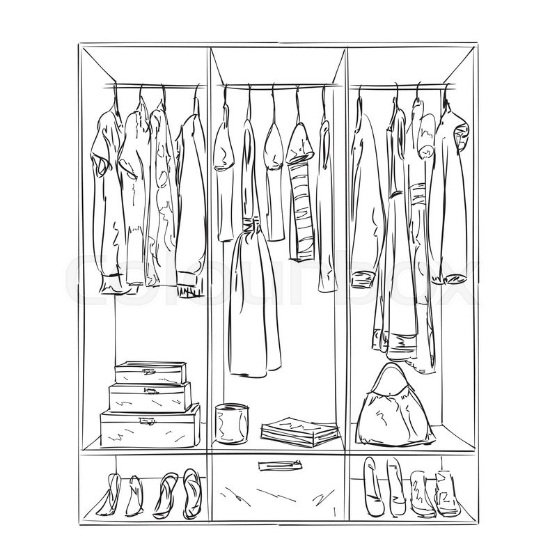 800x800 Hand Drawn Wardrobe Sketch. Room Interior With Clothes. Stock
