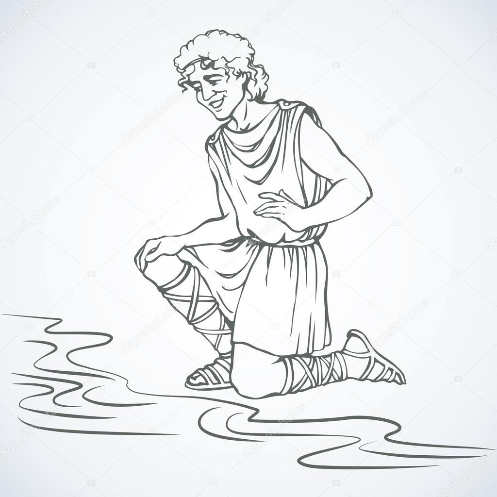 1024x1024 Man In Ancient Greek Clothes. Vector Drawing Stock Vector