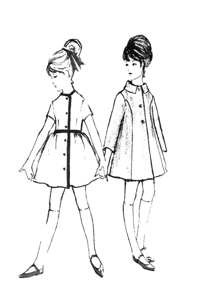 650x950 Line Drawing Illustration Children's Clothes Had Much Shorter
