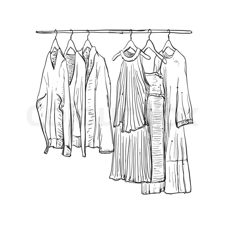 800x800 Hand Drawn Wardrobe Sketch. Clothes On The Hangers. Stock Vector