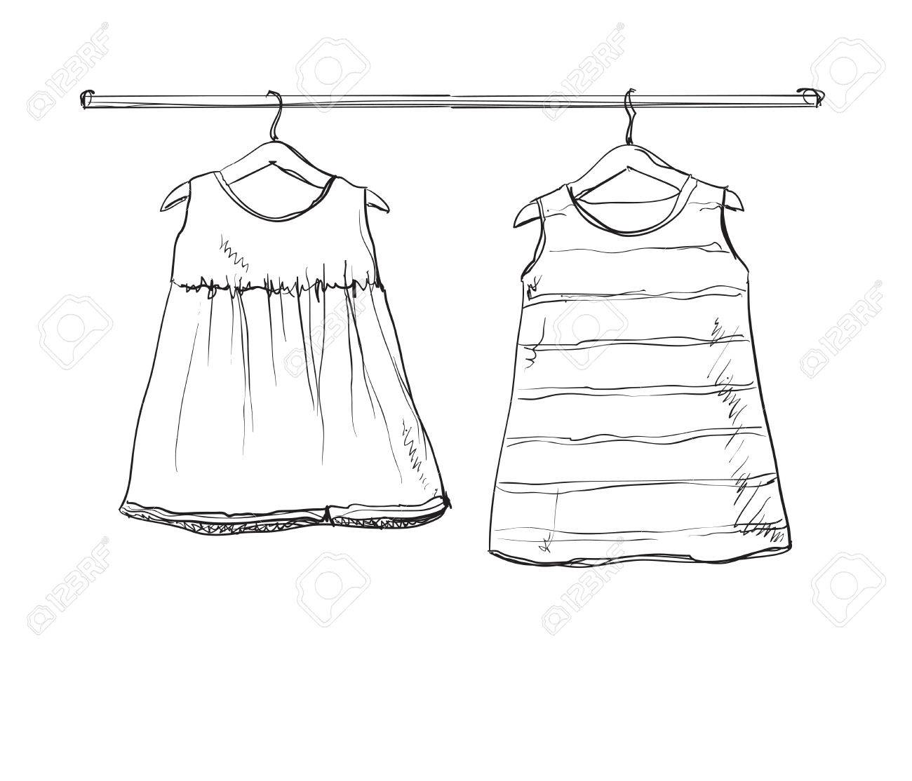 1300x1114 Baby Dress Vector Sketch. Clothes On The Hanger. Hand Drawn