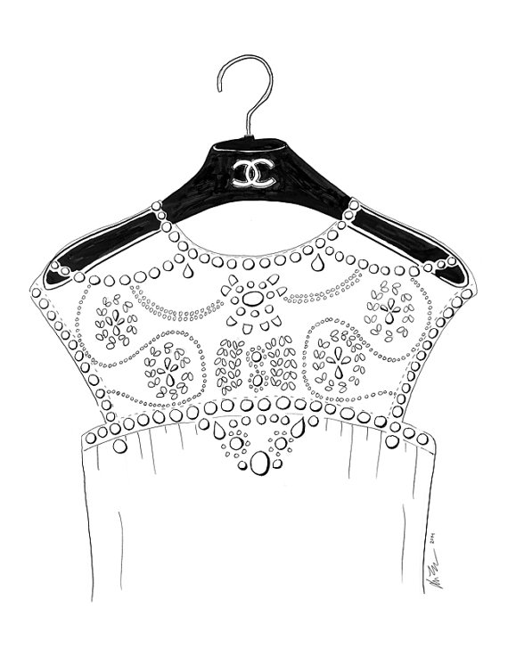 570x737 Chanel On A Hanger Fashion Line Drawing Print By Karaendres