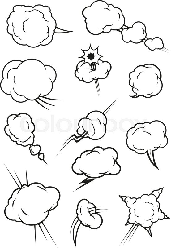553x800 Cartoon Cloud Icons In Comic Book Style. Isolated Cumulus Outline