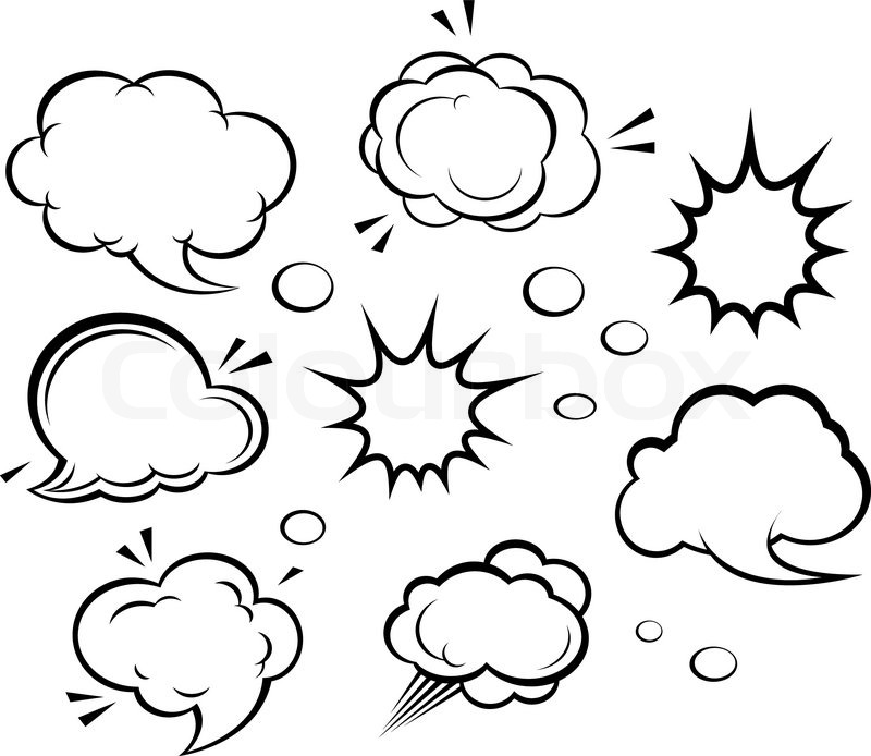 800x694 Cartoon Clouds And Explosions Stock Vector Colourbox