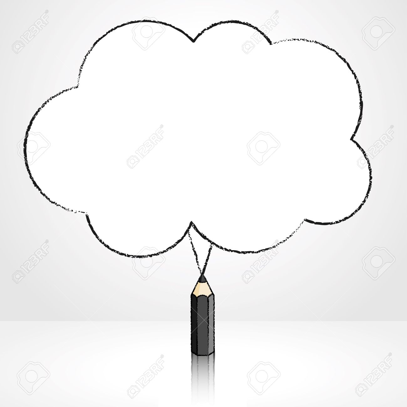 1300x1300 Black Pencil With Reflection Drawing Fluffy Cloud Shaped Speech