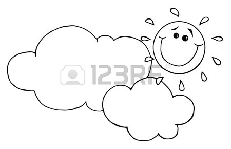 450x290 Outlined Smiling Sun Behind Cloud Cartoon Character Royalty Free