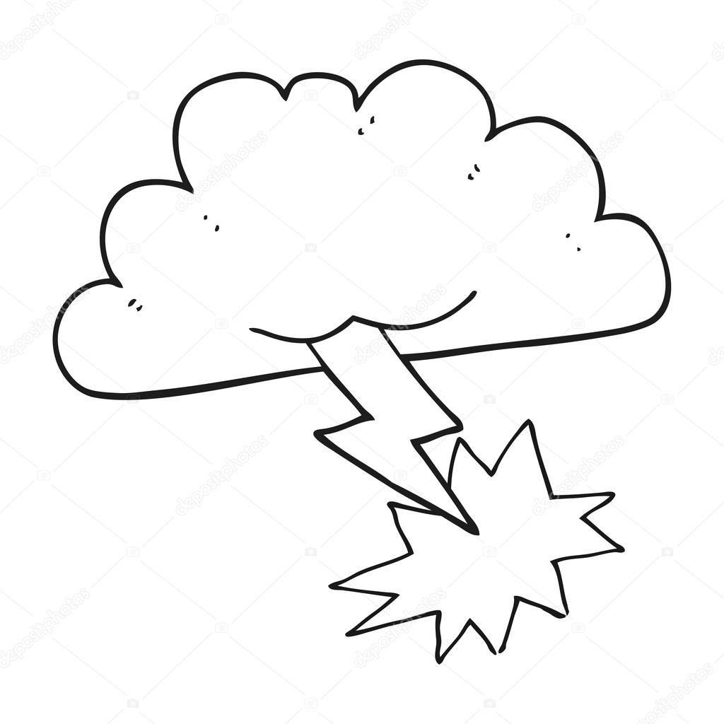 1024x1024 Black And White Cartoon Storm Cloud Stock Vector
