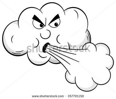 450x384 Cartoon Drawing Of Wind Blowing