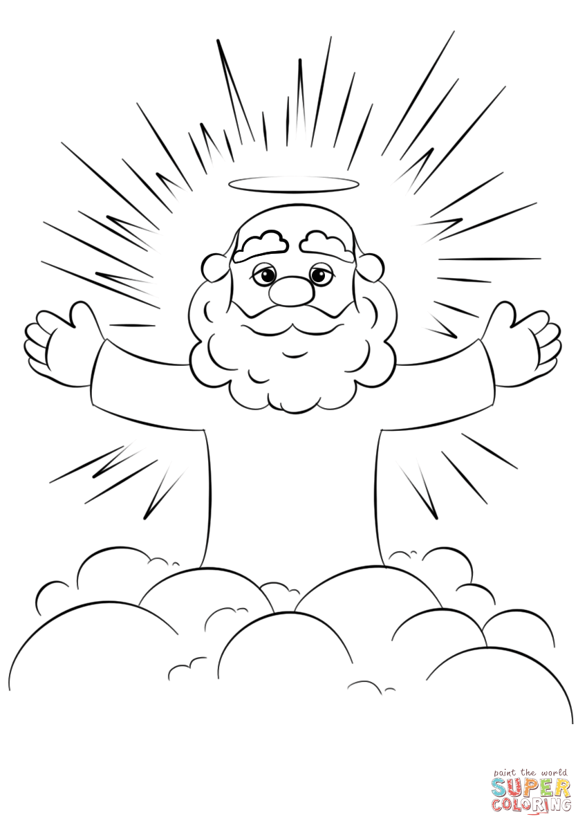 849x1200 Cartoon God On A Cloud Coloring Page Free Printable Coloring Pages