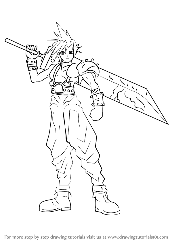 598x844 Learn How To Draw Cloud Strife From Final Fantasy (Final Fantasy