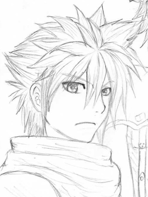490x651 Cloud Strife Sketch By Easteregg23