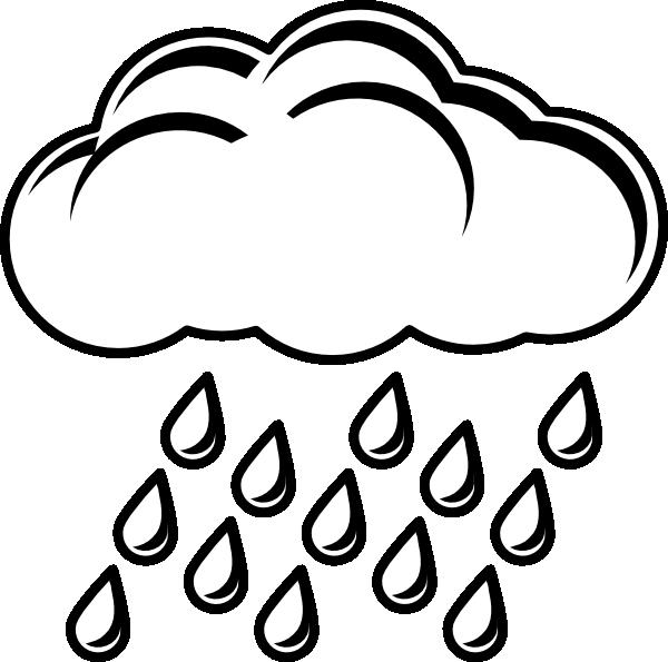 600x595 Cloud With Rain Outline Clip Art