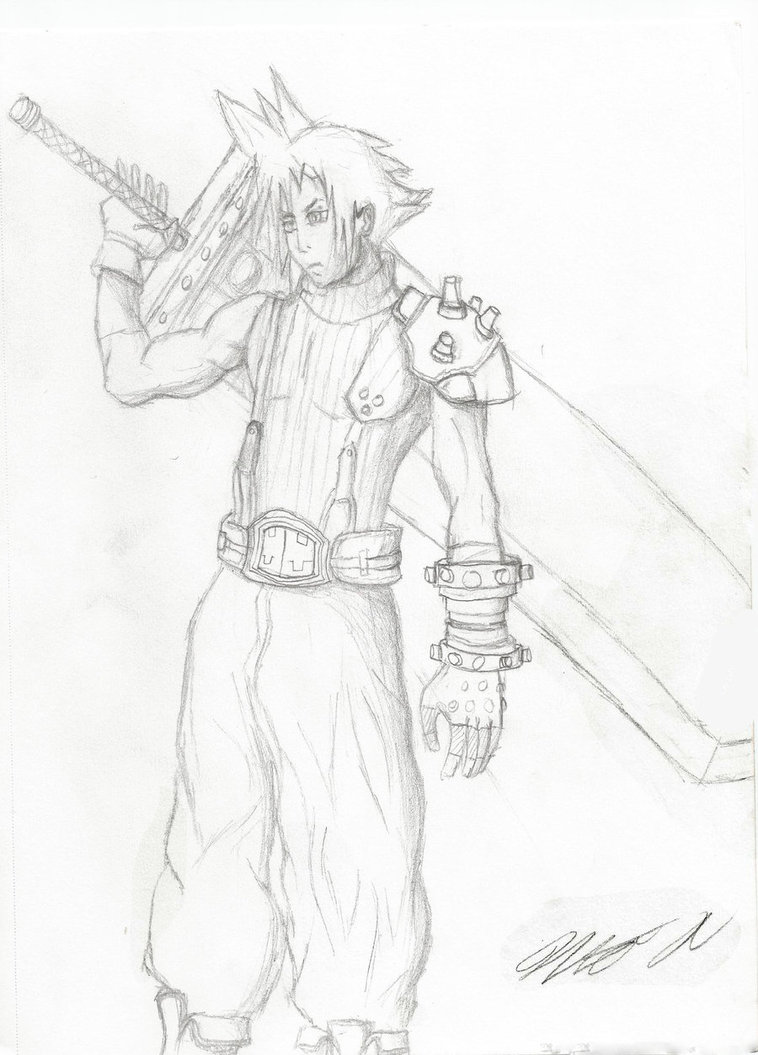 758x1055 Final Fantasy Character Drawings Cloud By Aceofspades230