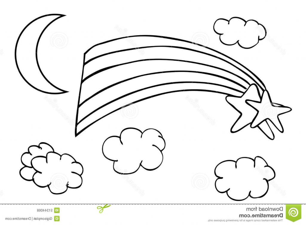1024x753 Sketch Of Cloud Outline Sketch Rainbow And Cloud Stock Vector