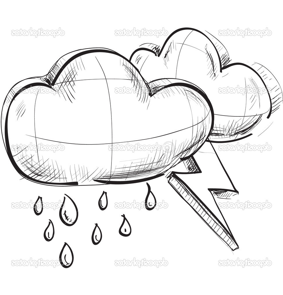 980x1024 Sketch Of Cloud Sketch Weather Icons Two Clouds With Lightnings