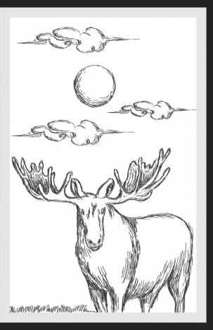 303x468 Wild Nature Drawing Reindeer Sun Cloud Handdrawn Sketch Vectors