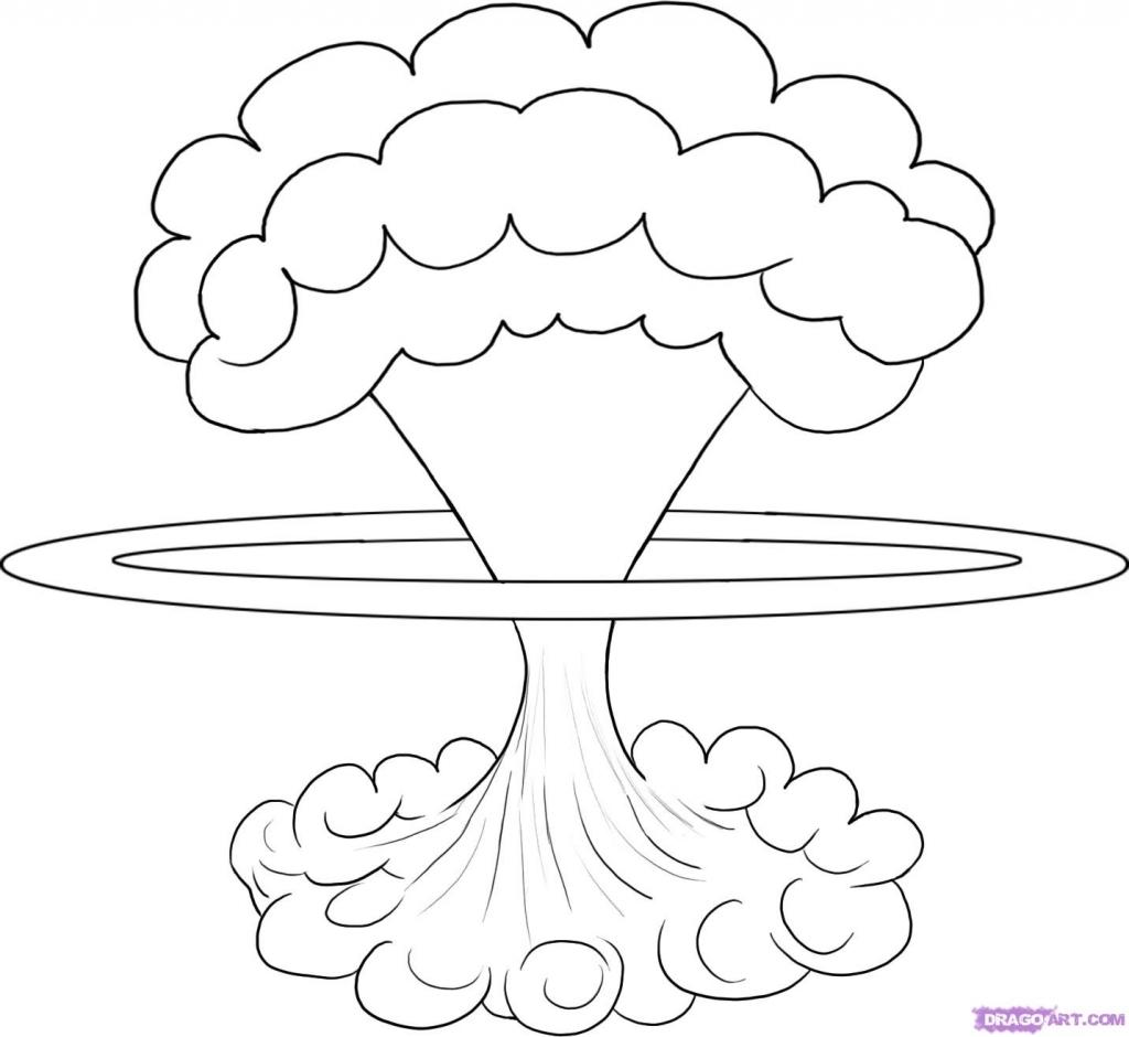 1024x940 How To Draw A Mushroom Draw A Mushroom Cloud Step Step Drawing