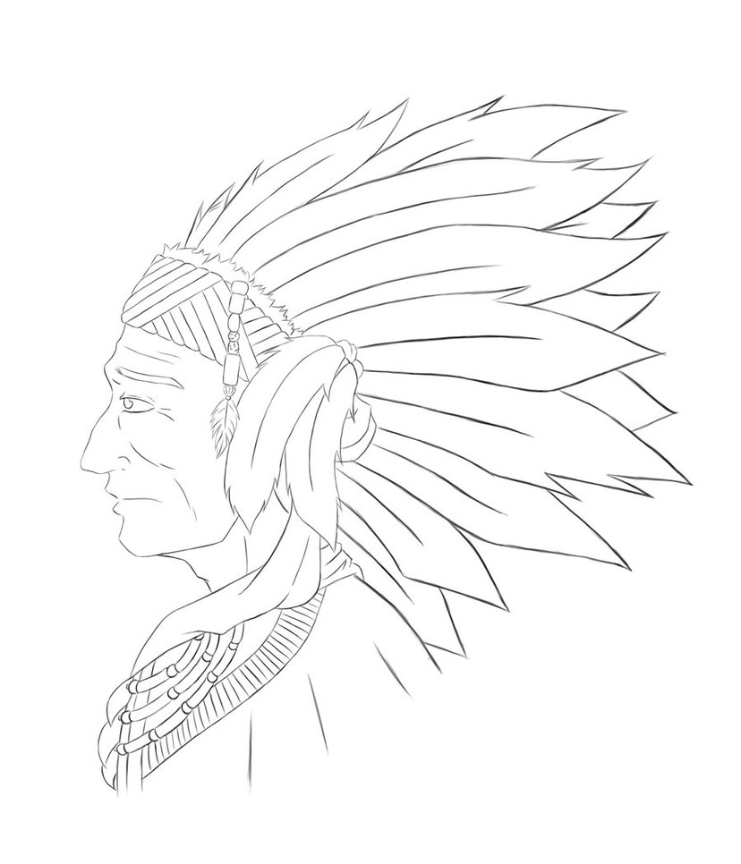 828x966 Native American Chief Drawing Chief Many Horns Pencil Drawing